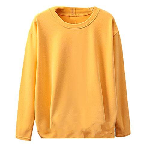 Long Sleeve Womens T-Shirt Ladies Tee Shirt Yellow