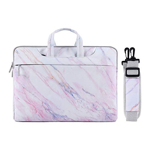 MOSISO Laptop Shoulder Briefcase Bag Compatible with 13-13.3 Inch MacBook Pro, MacBook Air, Notebook Computer, Protective Canvas Marble Pattern Carrying Handbag Sleeve Case Cover, Pink