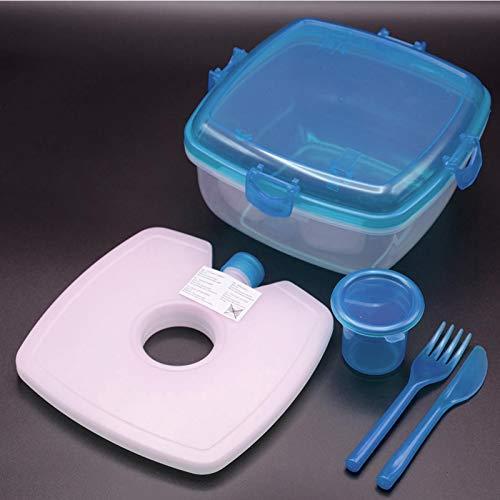 HAC24 Lunchbox-Set Salat-to-Go Frischhalte-Box mit Kühlakku und Besteck Salatschüssel Salatcup Kunststoff (Blau)