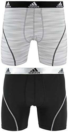 adidas Men's Sport Performance Boxer Brief Underwear (2-Pack), White Ratio Black, SMALL