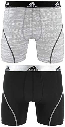 adidas Herren Sport Performance Climalite Graphic Boxershorts (2er-Pack), Weiß Ratio Schwarz, Größe XL