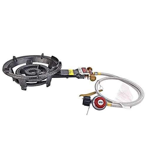 """ARC 2541S, Super Propane Burner, 80000 BTU 13"""" Large Heavy Duty Cast Iron High Pressure Camping Stove with 0-20 PSI CSA Adjustable Regulator&Hose, Perfect for Outdoor Cooking, Home Brewing, Turkey Fry"""