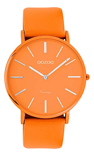 Oozoo Vintage Damenuhr Colors of The Summer mit Lederband Flach 40 MM Orange C9886