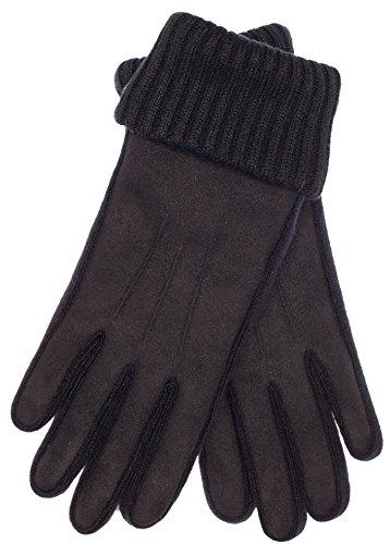 EEM vegane Damen Kunstleder Handschuhe PETRA mit flauschig weichem Thinsulate Thermofutter aus Polyester in Wildlederoptik Schwarz/Schwarz M
