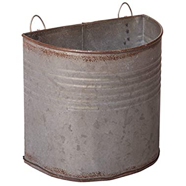 Red Co. Aged Metal Half Bucket Planter, Wall Pocket Storage, Country Farmhouse Décor, 6 Inches