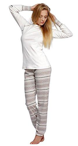 S& SENSIS edler Baumwoll-Pyjama (Made in EU) Hausanzug aus schickem Oberteil und toller Hose, Gr. 36, Ecru/Braun mit Norwegermuster