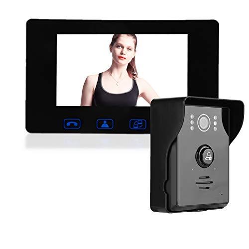 Videoportero con cable Videoportero Monitor de 7 pulgadas Cámara de visión nocturna Kit de timbre con cables de conexión para apartamento de oficina en casa, ángulo de visión amplio de 150 °(UE)