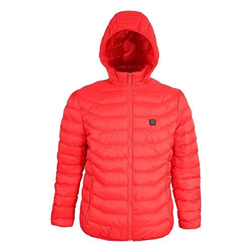 USB elektrisch verwarmd vest jack kleding, USB verwarming vest verwarmde mantel winter warm vest voor motorfiets fiets wandelen skiën camping vissen klimmen thermische jas - rood
