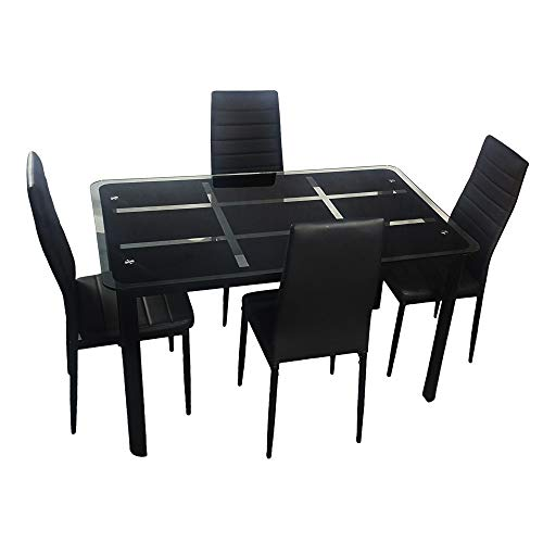Cacoffay Rectangle Dining Table Set of 4, Modern Dining Room Furniture Glass Kitchen Table and 4 Faux Leather Foam Ribbed High Back Padded Chairs