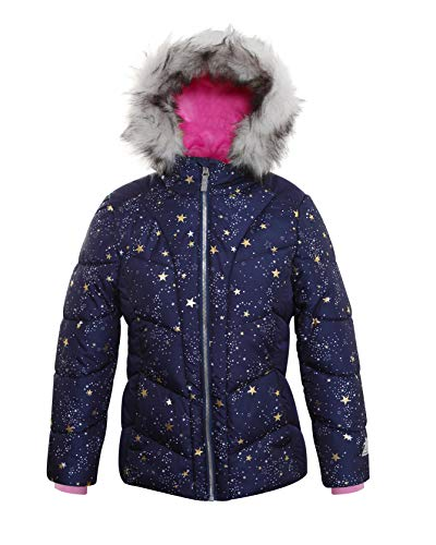 ZeroXposur Girls Puffer Jacket Fleece Lined Winter Coat with Lined Hood and Removable Faux Fur Trim (Navy Sprinkle, Small)