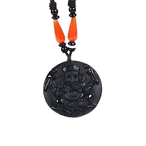 ZHIBO Natürliche Obsidian Thailand Ganesha Halskette anhänger Elefant amulett Jade anhänger Jade schmuck fine Jewelry