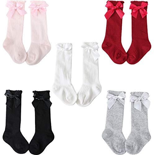 Adorel Calcetines Altos Largos Lazo Algodón Niña Pack de 5 Gris Rosa Granate Blancos Negro 2-4 Años (Tamaño del Fabricante M)