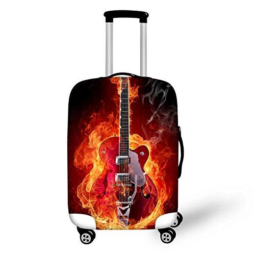 Brennende Gitarre Elastisch Kofferhülle Kofferschutzhülle Kofferschutz Kofferbezug Koffer Abdeckung Schutz Bezug Luggage Cover Reisekoffer Hülle für 18-28 Zoll Koffer mit Reißverschluss L(26