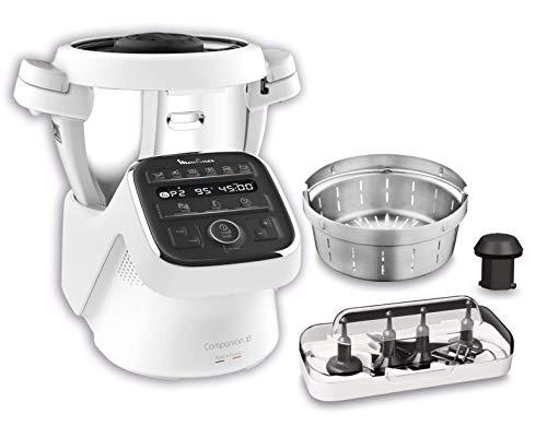 Moulinex HF80CB Companion XL, Robot da Cucina Multifunzione, 12 Programmi Automatici, 6 Accessori Dedicati, Capacità di 3L,1500 W, Bianco Nero