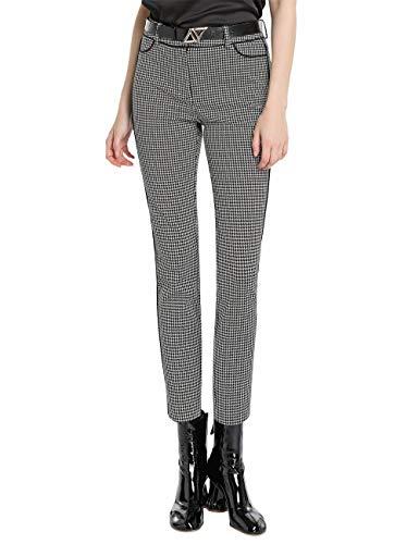 APART stylishe Damen Hose, grau, Hahnentrittmuster, 7/8-Länge, schmale Form, schwarz-Taupe, 40