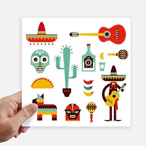 DIYthinker Sombrero Tequila Gitarre Chili Mexiko Elment Quadrataufkleber 20Cm Wand Koffer Laptop Motobike Aufkleber 4Pcs 20Cm X 20Cm Mehrfarbig
