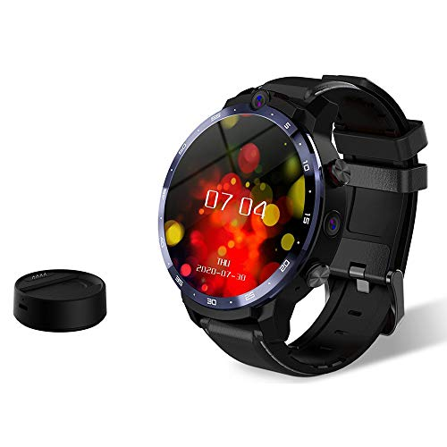 Moniel LEM12 Pro 4G LTE Smart Watch 4+64GB Android 10.0 GPS Tracker Smartwatch 5MP+8MP Dual Cameras Heart Rate Monitor Pedometer Alarm Clock Calendar Waterproof Sport Watch with Portable Mini Power