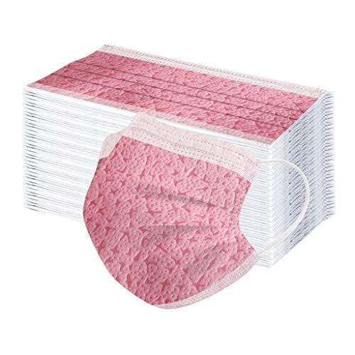 50/100 STK Einmal-Mundschutz,mundschutz einweg, Dreischichtige Einweg Mund und nasenschutz, mundschutz Erwachsene,Atmungsaktive und komfortable elastische Ohrmuscheln Gesichtsschutz (100, Rosa)