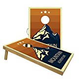 Solid Wood Premium Cornhole Set-Includes Two 3'x2' Cornhole Boards and 8 Bean Bags (Mountain)