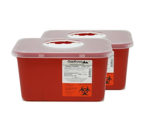 Oakridge Sharps Container - 1 Gallon (2 Pack) - Easy use Rotating lid Design