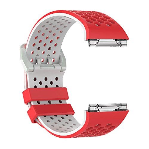 yotijar Hebilla de Banda de Silicona de Pulsera de Reloj de Repuesto para Reloj Inteligente Iónico - Rojo Blanco