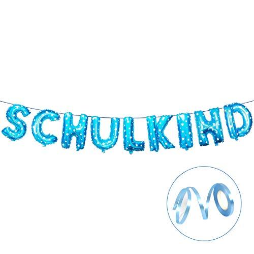 Bluelves Schulkind Girlande Banner,Einschulung Deko Junge, Blau Hänge Folien Luftballon Deko für Schuleinführung Schulanfang Schulstart Einschulung Dekoration Schule Für Jungen Mädchen