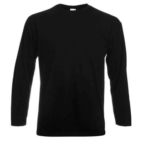 Fruit of the Loom Herren Valueweight Long Sleeve Sporttop, Schwarz, L