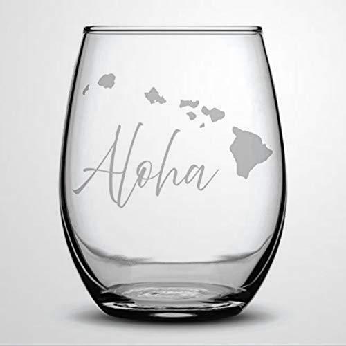 Aloha Hawaii Islands Fun Wine Glass Perfect Present Vacationers Hawaii Lovers Stemless Wine Glass Laser Engraved custom Whiskey Glass custom Shot Glass,15 oz