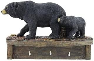 Black Bear Family Cub Keyholder Rack Hook Sculpture, Wall Mounted, 8-inch