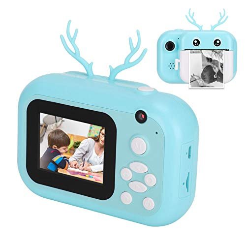 Cámara de impresión portátil, electrónica Kid 2.4in 16G Twin Lens One-Click Selfie Outdoor Print Camera Conector OTQ para grabar hermosos momentos(blue)