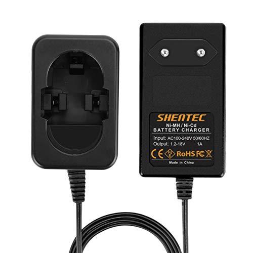 Shentec 1.2V-18V Cargador Ni-MH/Ni-Cd Compatible con Bosch 7.2V 9.6V 12V 14.4V 18V Pod Style Baterías BAT043 BAT045 BAT046 BAT120 BAT011 BAT038 BAT040 BAT025 BAT026 BAT160 BAT180
