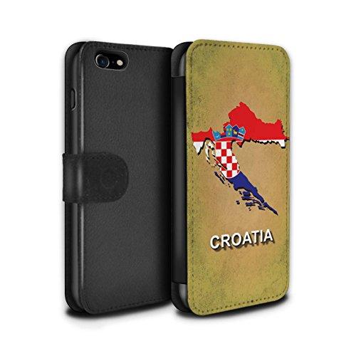 Telefoonhoesje Portemonnee voor Apple iPhone SE 2020 Vlag Naties Kroatië/Kroatisch Ontwerp Flip Faux PU Lederen Cover Magnetische Sluiting Card Slots