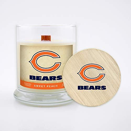 Worthy Promo NFL Scented Candle 8 Oz Soy Wax, Wood Wick and Lid, Chicago Bears (Peach)