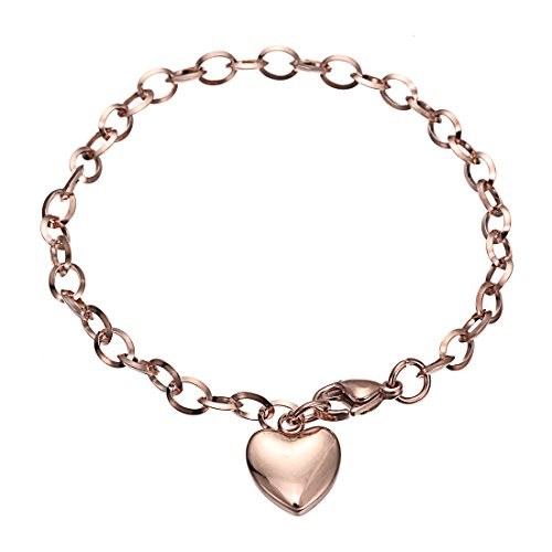 Stainless Steel Bracelets,HERACULS 316L Women's Chain Link Bracelet with Heart Charm 7.5 Inch ( Rose Gold )