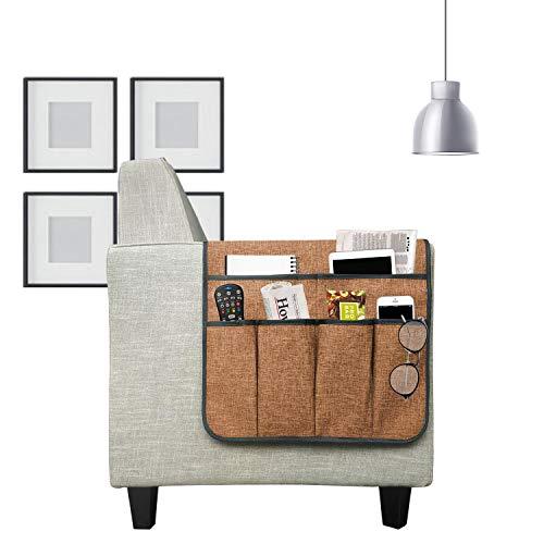 WDM Organizador de reposabrazos para sofá, con 6 bolsillos para mando a distancia en el sofá y reposabrazos, para mando a distancia, revistas, libros, teléfono móvil, iPad, beige, negro, gris, marrón
