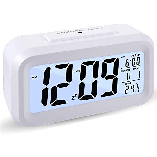 Sveglia Digitale, Display a Ledluce Notturna Snooze,sveglia Da Comodino, Sensore Di Allarme Con Visualizzazione Del Calendario Della Temperatura Del Tempo, Per La Cucina Dell'home Office (bianca)