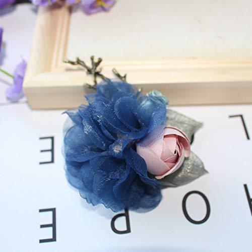XZFCBH hoge kwaliteit nieuwe zinklegering doek kunst kristal rose bloem broche revers kraag pin stof corsage pak shirt accessoires