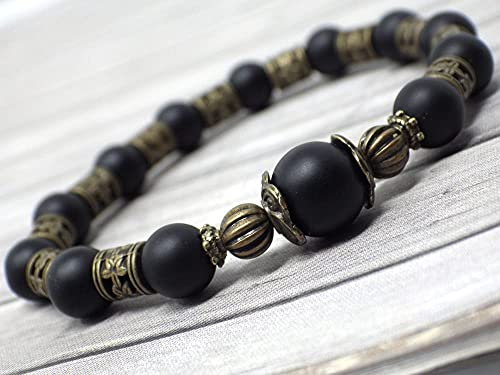 Pulsera estilo vintage para mujer en ágata esmerilada negra