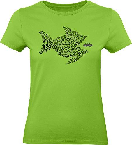 Damen Fahrrad T-Shirt: Bikes of The World Organize ! - Tailliert - Fahrrad Geschenke für Frauen Radfahrerinnen Mountain-Bike MTB BMX Fixie Rennrad Tour Outdoor Sport Frau Urban (Grün XXL)