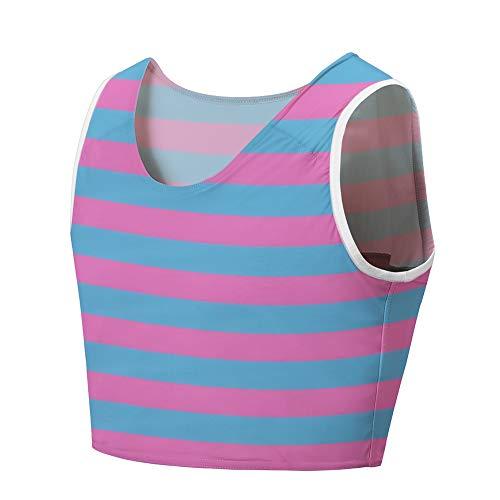 Idtswch Chest Binder for Transgender FTM Binder Compression Tomboy Trans Bandage Bra Cosplay Underwear (Stripe 166, 5XL)