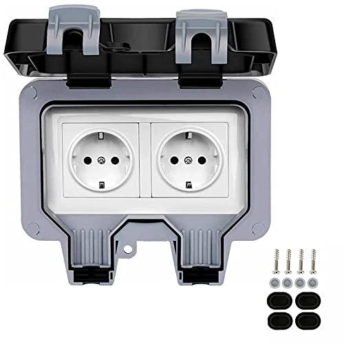 Enchufe exterior impermeable IP66 enchufe de pared antipolvo, resistente a la intemperie, doble interruptor de alto rendimiento para habitación húmeda, toma exterior con tapa con bisagra (4 unidades)