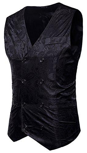WHATLEES Herren Enge Anzugweste aus Jacquard Smoking mit glitzerndem Paisley Muster, B933-black, XXL