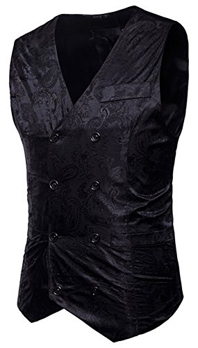 WHATLEES Herren Enge Jacquard Smoking Anzugweste mit glitzerndem Paisley Muster, B933-black, S