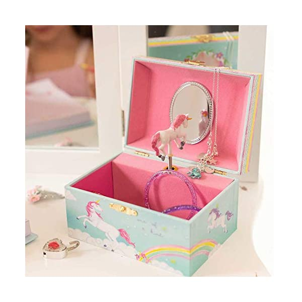Jewelkeeper Girl's Musical Jewelry Storage Box with Spinning Unicorn, Rainbow Design, The Unicorn Tune 6
