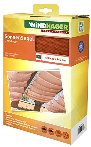 Windhager Sonnensegel für Seilspanntechnik, Wintergarten und Terrassen Beschattung, Seilspannmarkise, 420 x 140 cm, 10879