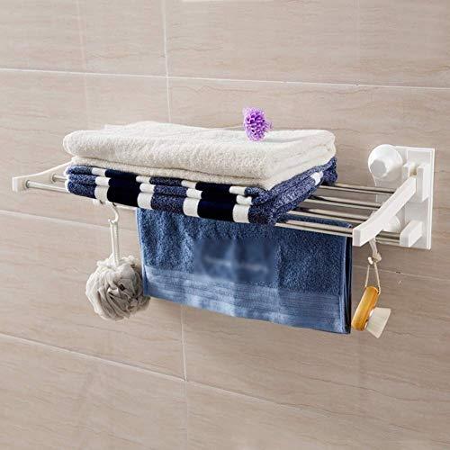 Badkamerrekplank, aan de muur bevestigbare opvouwbare roestvrijstalen stalen + plastic badkamerplanken met haken, geen boren