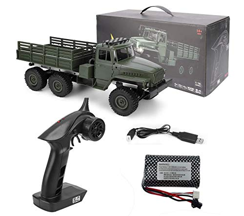 HHoo88 MN88S 1/16 Mini 2.4G 6WD Military Truck Remote Control Off-Road RC Car RTR Toys Best Racing Gift for Kids Children
