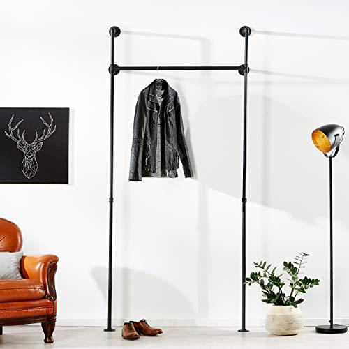 pamo Kleiderstange Industrial Loft Design - Gaderobe für begehbaren Kleiderschrank Wand I Schlafzimmer Kleiderständer aus schwarzen stabilen Rohren zur Wandmontage I Wasserrohren (1-Fach)