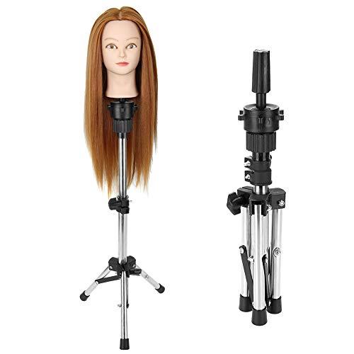 Support de perruque trépied Support de tête de mannequin réglable pour la coiffure, salon de formation de coiffeur support de tête de perruque stable 30-58.5cm