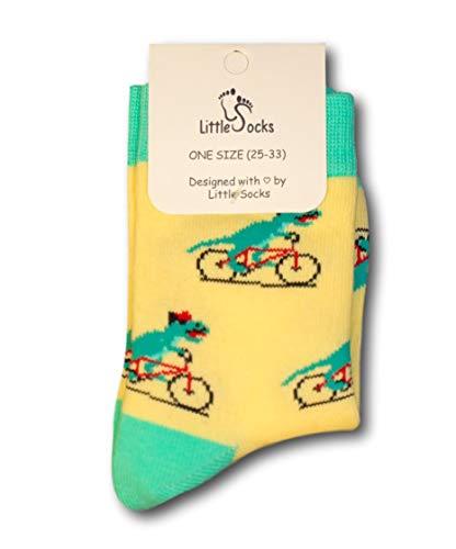 Little Socks Kinder Socken witziges Design Dino auf Fahrrad - perfektes Geschenk - Gr. 25-33 (Dino auf Fahrrad)